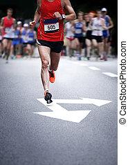bewegung, läufer, -, marathon, verwischt