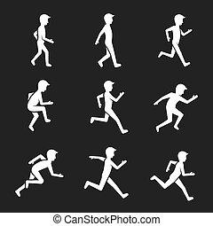 Bewegungsfigurensymbole. Menschliches Handeln wie Laufen, Springen und Bewegungsvektorzeichen