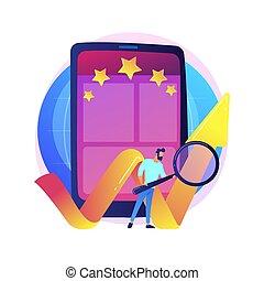 bewertung, beweglich, begriff, vektor, metaphor., app