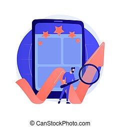 bewertung, metaphor., begriff, app, vektor, beweglich