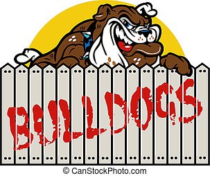 Bewundern Bulldog mit Zaun.