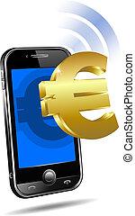 Bezahlt durch Handy Smartphone Euro