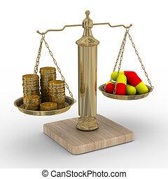 Bezahlte Medizin. Kosten der Behandlung. 3D-Bild isoliert