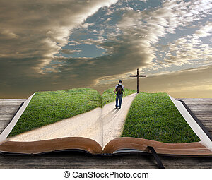 bibel, rgeöffnete, kreuz, mann