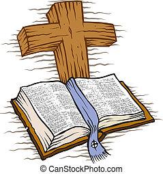 Bibel und Kreuz.
