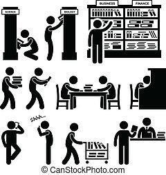 bibliothekar, buchhandlung, buchausleihe, schueler
