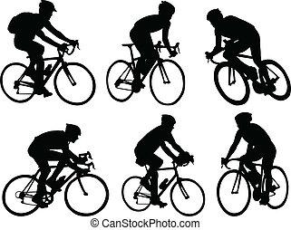 Bicyclists ilhouettes