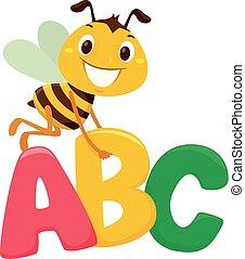 Bienen mit ABC-Briefen.