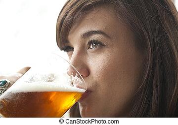 bier, frau, trinken, junger