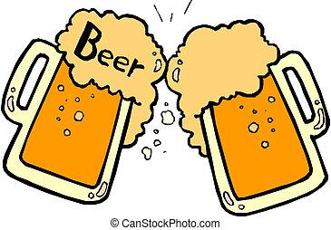 Bier spritzt.