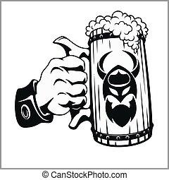 Bierbraut in der Hand.