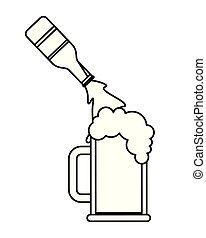 Bierflasche in Glasbecher.