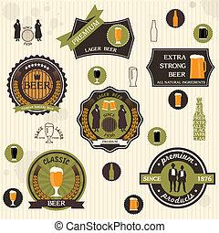 Biermarken und Etiketten im Retro-Stil