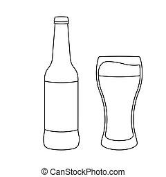 biertulpe, flasche, vektor