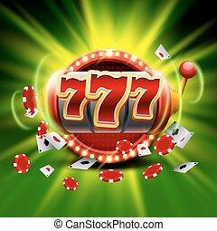 Big win Slots 777 Banner Casino auf dem grünen Hintergrund.