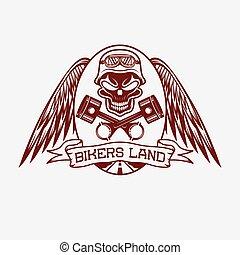 Biker landen mit Schädel, Flügeln und Kolben.