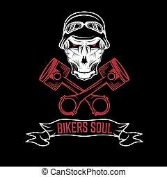 Biker Theme Label mit Kolben und Schädeln.