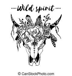 bild, einladung, plakate, stil, schick, blumen, t-shirt, abbildung, totenschädel, mode, wild, boho