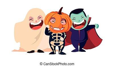 bild, kinder, halloween, kostüme