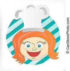 Bild vom Koch, junges lächelndes Mädchen.
