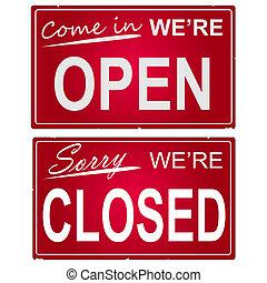 """Bild von """"offen"""" und """"geschlossen"""" Geschäftszeichen."""