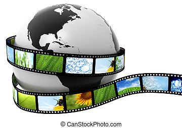 bilder, aufgewickelt, film, erde