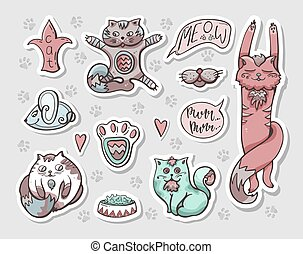bilder, labels., hand-drawn, satz, vektor, aufkleber, cats.