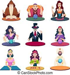 bilder, vermögen, balls., märchen, richtig, karikatur, kristall, vektor, tellers, kugeln, magisches, charaktere, karten, zigeuner