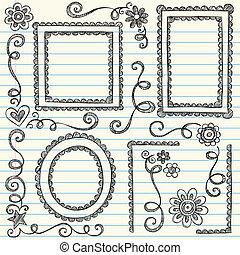 Bilderrahmen, zwielichtige Zeichnungen