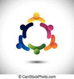 Bildet einen Vektor von Kreiskindern, die spielen oder Kinder, die Spaß miteinander haben. Die Grafik repräsentiert auch Gruppen von Menschen als Gemeinschaft, Schulkinder, die interagieren, Arbeitnehmer- und Arbeitnehmertreffen