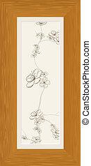 Bildet von Blumenzweigen im Holzrahmen