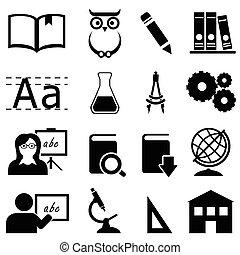 Bildung, Lernen und Schul-Ikonen.