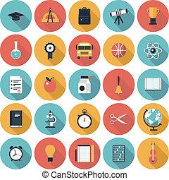 Bildungs-Flachbild-Icons eingestellt