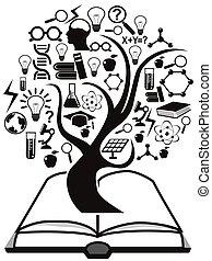 Bildungs-Ikonen baumeln von Buch.
