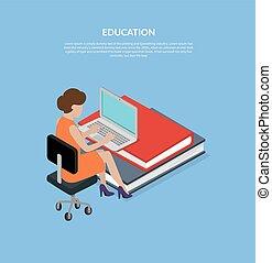 Bildungskonzept 3d isometrische