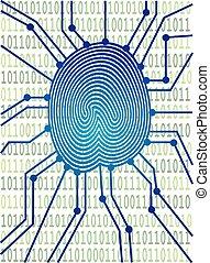binärcode, abbildung, brett, stromkreis, daumenabdruck