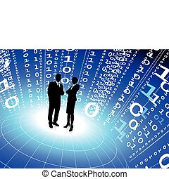 binärcode, geschäft mannschaft, hintergrund, internet