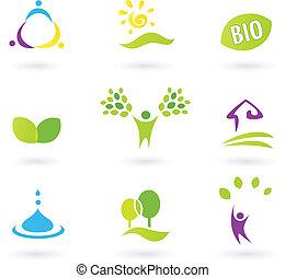 BIO-Ikonen, inspiriert von Menschen, Farmleben und Natur. Vektor Illustration.