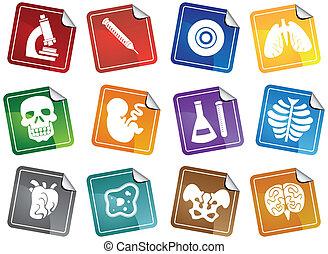 biologie, ikone, aufkleber, satz