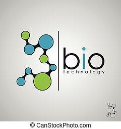 Biotechnologie, Biologo, Biologiedesign, Bio-Konzept-Logo, DNA-Logo.