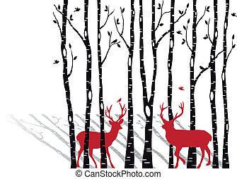 Birch-Bäume mit Weihnachts-Deern