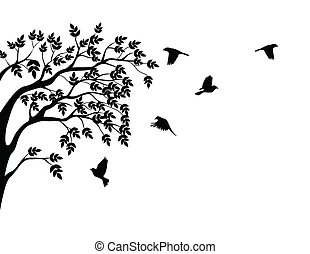 bird, fliegt, silhouette, baum