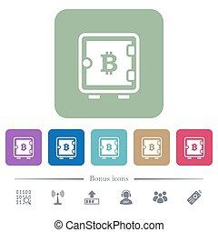 Bitcoin starke Box flache Symbole auf bunten Quadrat Hintergründen