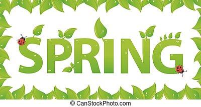blätter, design, grün, fruehjahr