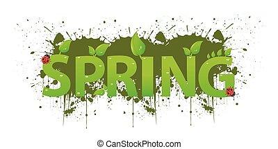 blätter, grün, design, fruehjahr
