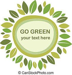 blätter, grün, rahmen