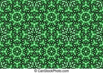 blätter, grün, stilisiert, blumen-, seamless, muster