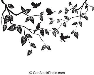 Blätter und Vögel
