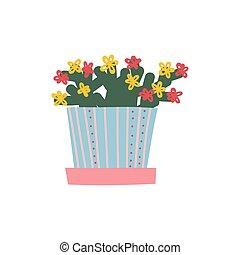 blühende Hauspflanze wächst im Blumentopf, Designelemente für die natürliche Inneneinrichtung Vektorgrafik.