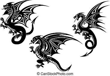 Black Flying Dragons Tattoo Design.